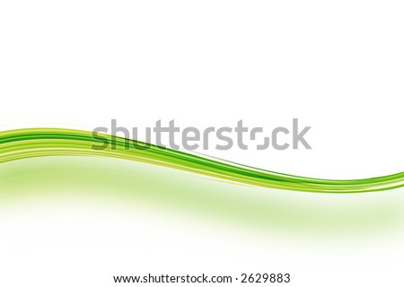 Green abstract wave and shadow. - stock photo