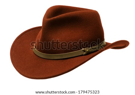 Green Adirondack hat with wide felt brim, isolated against white - stock photo