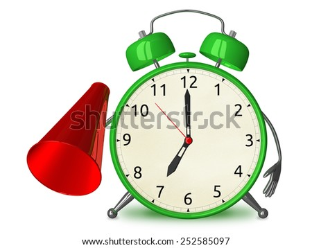 Green alarm clock character with megaphone isolated on white - stock photo