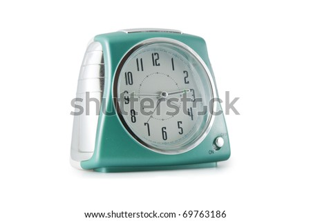 green alarm clock isolated on a white background - stock photo