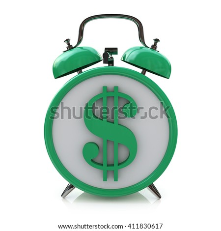 Green alarm clock with dollar symbol on clockface. Time is money in the design of information related to business and economy.3D illustration - stock photo
