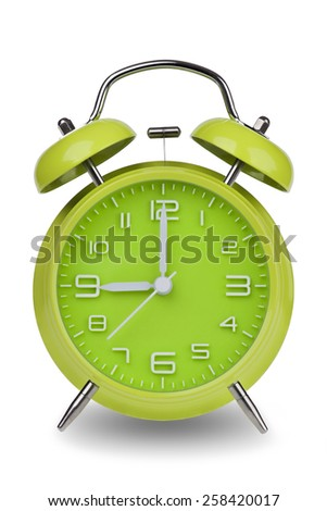Green alarm clock with the hands at 9 am or pm isolated on a white background. One of a set of 12 images showing the top of the hour starting with 1 am / pm and going through all 12 hours - stock photo