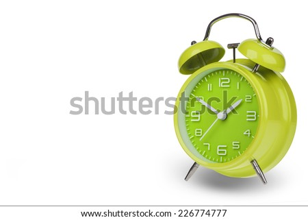 Green alarm clock with the hands at 10 and 2 isolated on a white background - stock photo