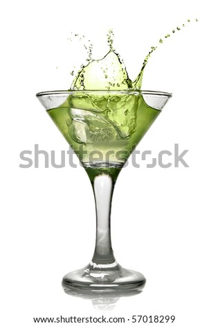 Green alcohol cocktail with splash isolated on white - stock photo