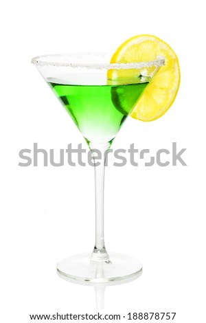 Green alcohol cocktail with sugar and lemon isolated on white  - stock photo