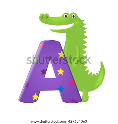 Green Alligator With Letter  - stock photo