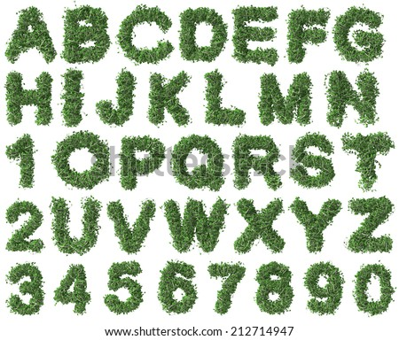 Green alphabet made of trees and leafs. Seasonal summer letters - stock photo