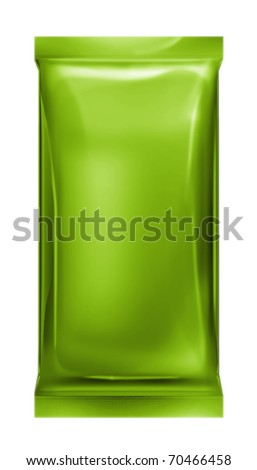 green aluminum foil bag isolated on white background - stock photo