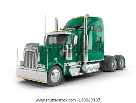 Green american truck isolated on white background - stock photo