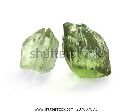 Green amethyst crystals on the white background. - stock photo