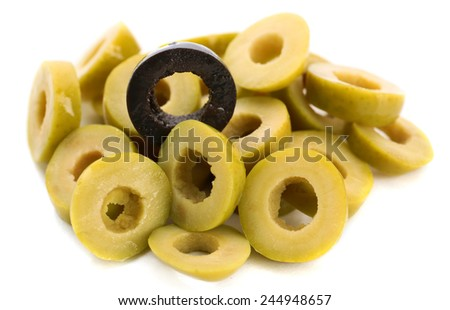 Green and black cut olive rings isolated on white - stock photo
