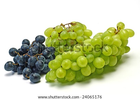 green and  black grape on white - stock photo