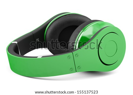 green and black wireless headphones isolated on white background - stock photo