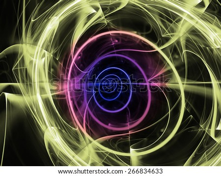 green and blue abstract fractal fantasy background with light rays - stock photo