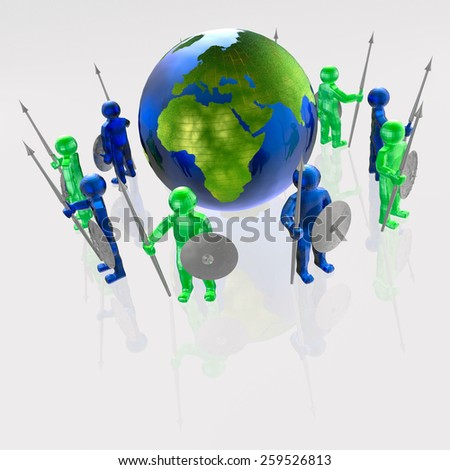 Green and blue armed mans with globe on white background. - stock photo