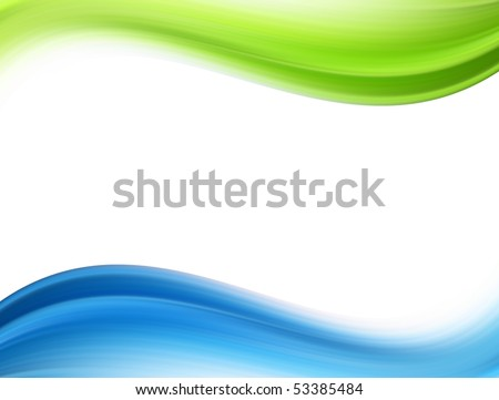 Green and blue dynamic waves over white background - stock photo