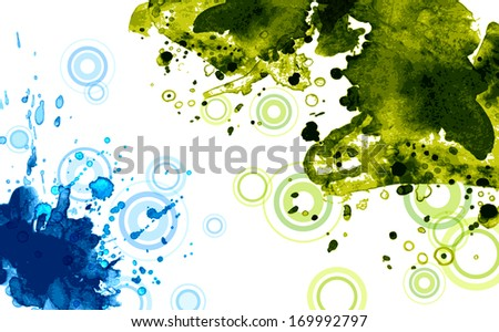 Green and blue splotches on a white background. - stock photo