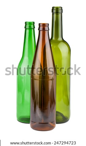 Green and brown empty bottles without labels isolated on white background - stock photo