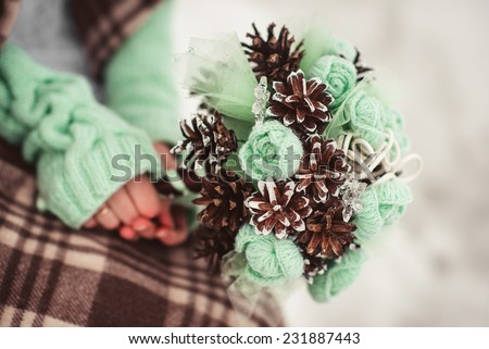 green and brown winter wedding closeup details - stock photo