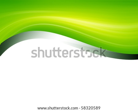 Green and chrome waves over white background - stock photo