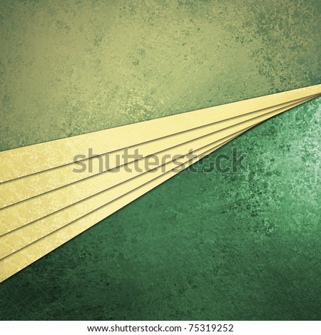 green and cream abstract background with graphic art design layout, beige parchment or linen stripes illustration on top layer, with light green and dark green textured grunge wall on back - stock photo