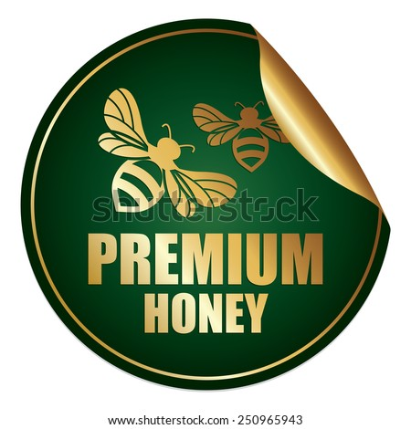 Green and Gold Metallic Premium Honey Sticker, Icon or Label Isolated on White Background  - stock photo