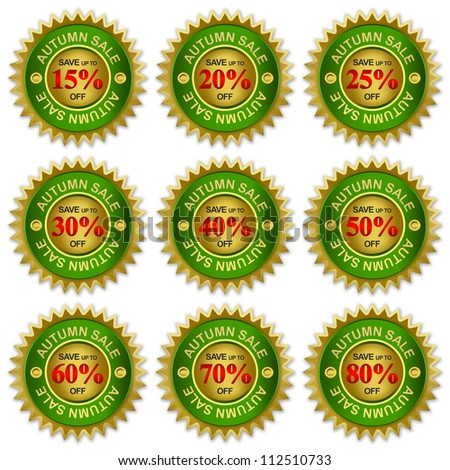 Green and Golden Metallic Price Tag Sticker For Autumn Sale Campaign With Save Up To 15 - 80 Percent Off Isolated on White Background - stock photo