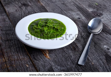 Green and hot herb sauce chimichuri  - stock photo