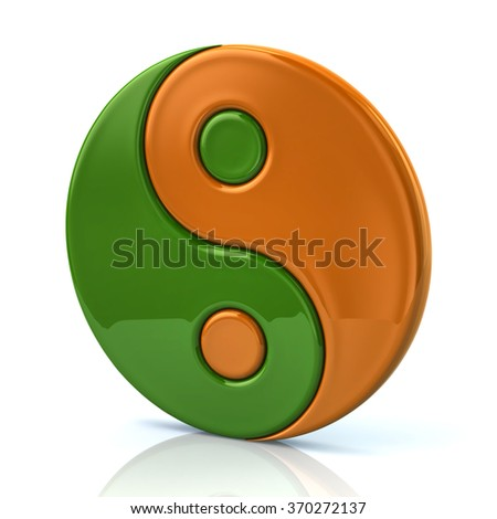 Green and orange ying yang symbol of harmony and balance on white background - stock photo