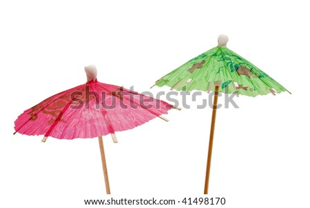 green and pink paper umbrella - stock photo