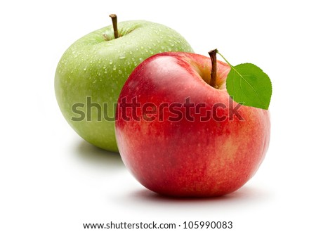 Green and red apple on white background - stock photo