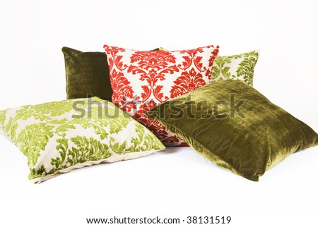 Green and red cushions - stock photo