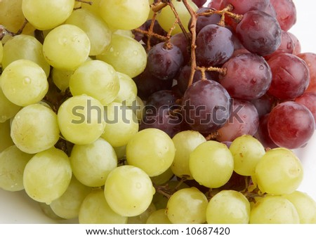 Green and red grapes - stock photo