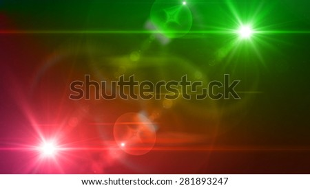 green and red light twin lens flare special effect - stock photo