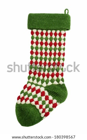 Green and red stocking on white background - stock photo