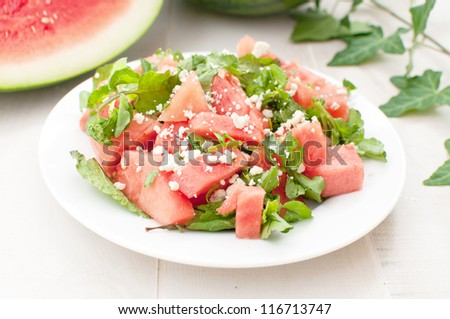 Green and red watermelon bright salad horizontal - stock photo