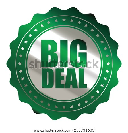 green and silver metallic big sale sticker, badge, icon, stamp, label, banner, sign isolated on white  - stock photo