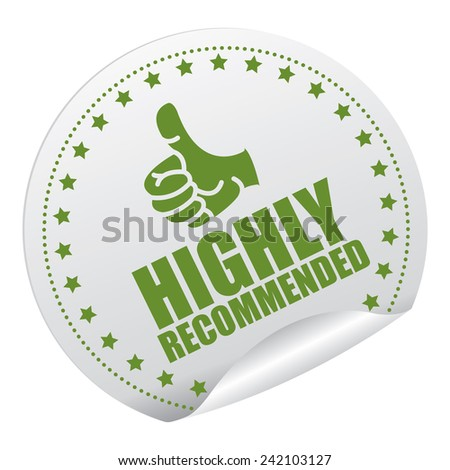 Green and Silver Metallic Highly Recommended Sticker, Icon or Label Isolated on White Background  - stock photo
