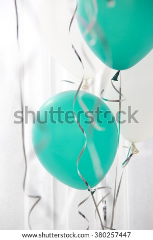 green and white balloons in the party,celebrate time. - stock photo