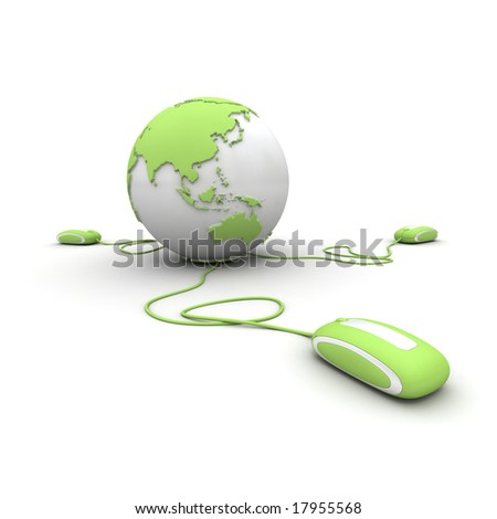 Green and white Earth Globe connected with three computer â??mousesâ?. - stock photo
