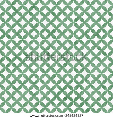 Green and White Interconnected Circles Tiles Pattern Repeat Background that is seamless and repeats - stock photo
