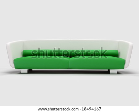 green and white  modern sofa isolated - digital artwork - stock photo
