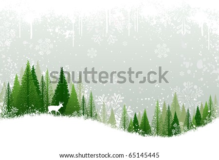Green and white winter forest grunge background design - stock photo