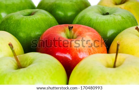 green and yellow apples isolated on the white - stock photo