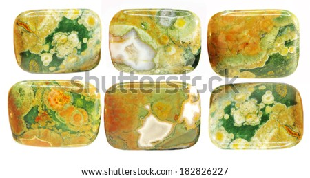 green and yellow jasper crystal isolated - stock photo