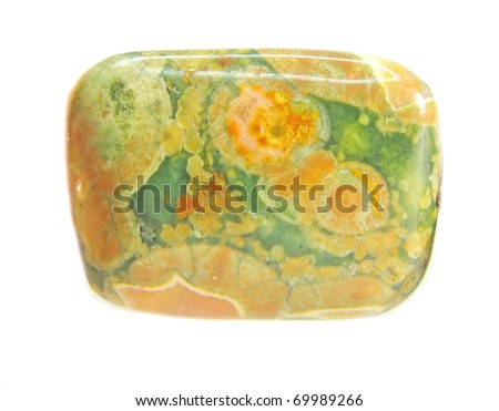 green and yellow jasper mineral crystal isolated - stock photo