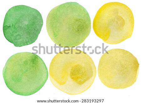 Green and yellow variations watercolor circles - stock photo