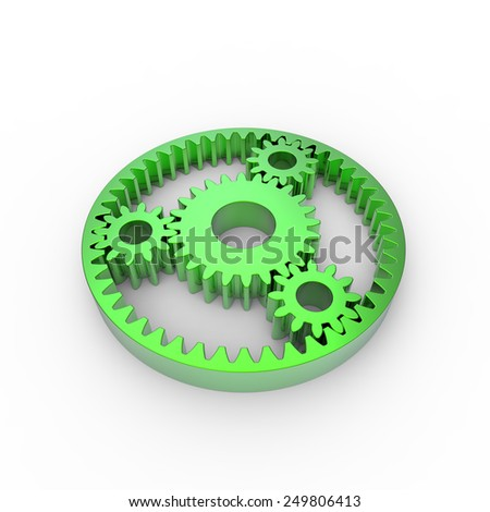 Green anodized steel planetary gears on a white background - stock photo