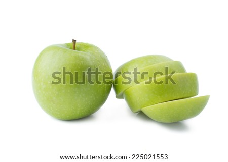 Green Apple and a Sliced - Clipping Path Inside - stock photo