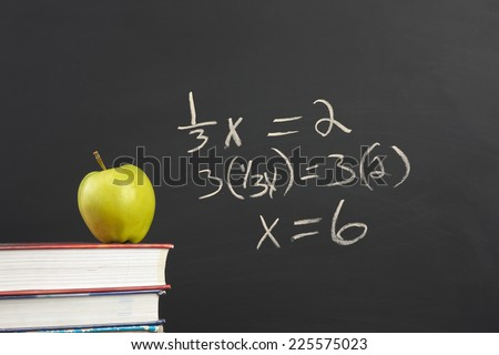 Green apple and algebra equation. - stock photo